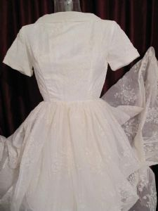 1950's Ivory flocked nylon organza full skirted vintage wedding gown